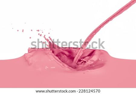 strawberry milk splash isolated on white background - stock photo