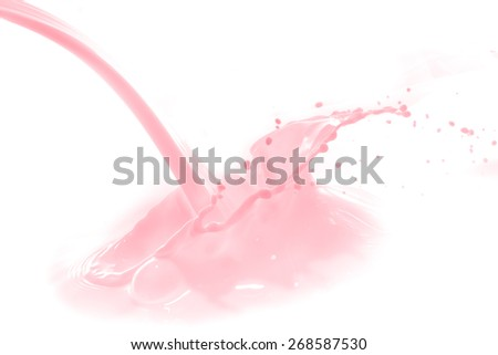 strawberry milk splash isolated on white background - stock photo