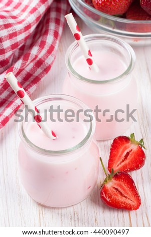 Strawberry milkshake in the glass jar
