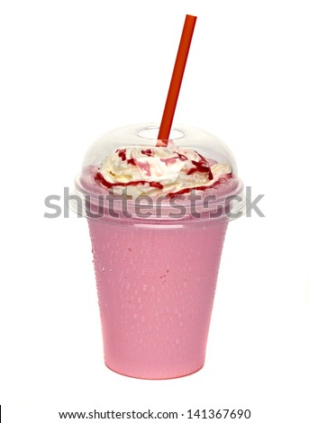 Strawberry milkshake with cream and sauce in take away cup - stock photo