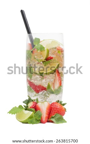 Strawberry mojito drink with falling strawberries, isolated on white background - stock photo
