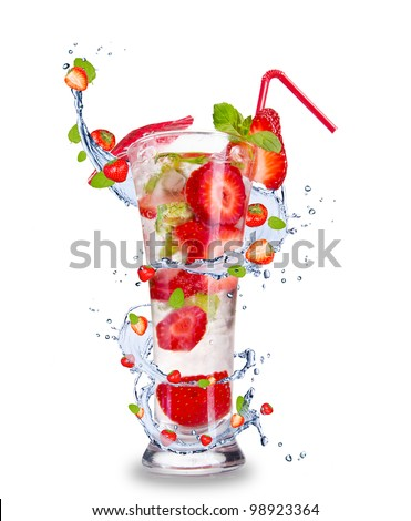 Strawberry mojito drink with splash, isolated on white background - stock photo