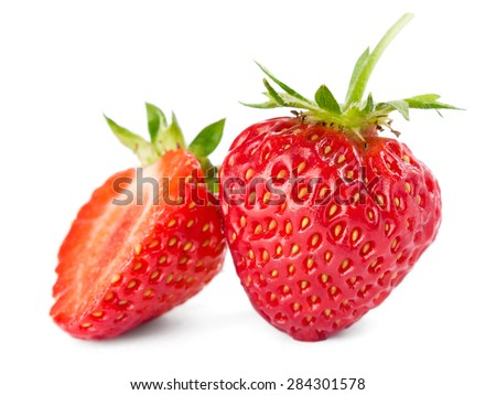 Strawberry on white background - stock photo