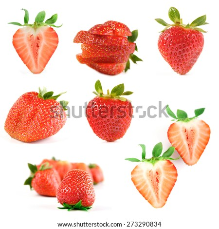 Strawberry on white backround - stock photo