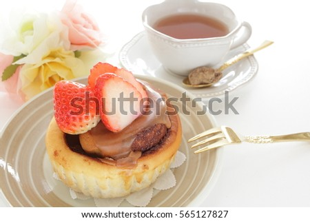 Strawberry pastry and tea