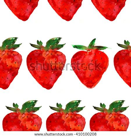 strawberry pattern, hand drawn watercolor - stock photo
