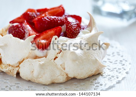 Strawberry pavlova cake - stock photo