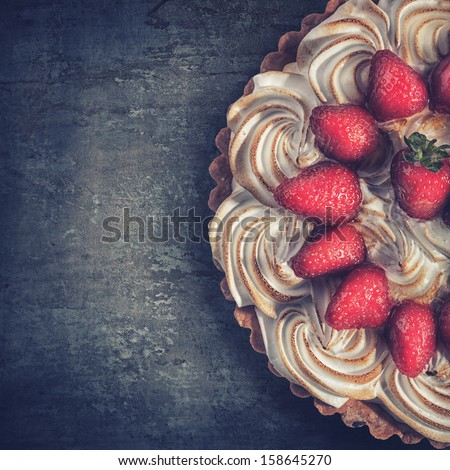 Strawberry pie top view on grunge background.  High resolution - stock photo