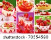 strawberry`s desserts and cakes photos  collection arranged as collage - stock photo