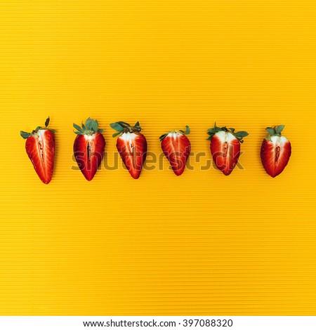 Strawberry set. Minimalism Fashion - stock photo