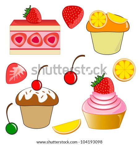 Strawberry shortcake. Strawberry cupcake. Chocolate cherry cupcake and Orange cupcake.
