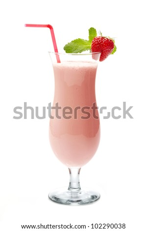strawberry smoothie in cocktail glass - stock photo