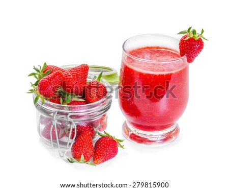 Strawberry smoothie with fresh berries isolated on white background. - stock photo