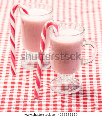 Strawberry smoothies for Christmas, selective focus