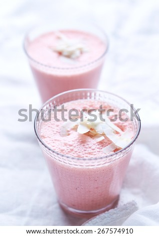 Strawberry smoothies with yogurt and coconut  - stock photo
