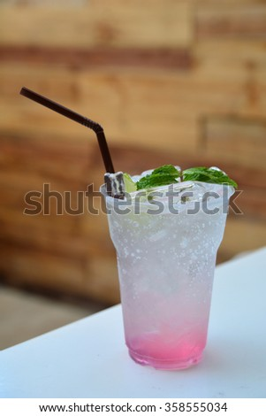 Strawberry soda , Summer beverage - stock photo