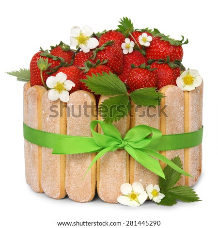strawberry sponge cake with fresh fruits decoration isoleted on white background - stock photo