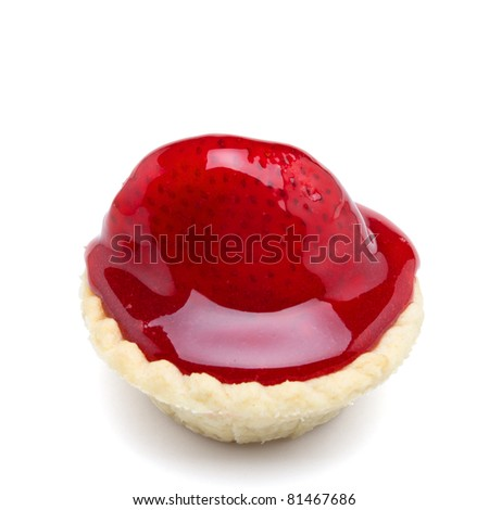 Strawberry tart from low perspective isolated on white. - stock photo