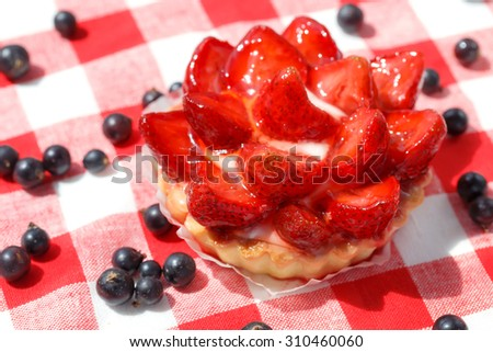 Strawberry tart on a checkered napkin. - stock photo