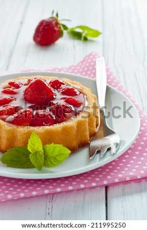 Strawberry tart on a plate