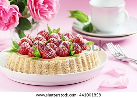 Strawberry tart with lemon cream and mint .Selective focus - stock photo
