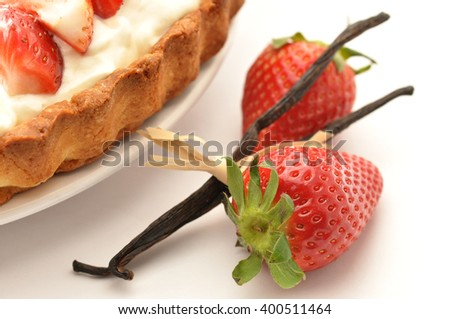 Strawberry tart with ricota cream and vanilla - stock photo