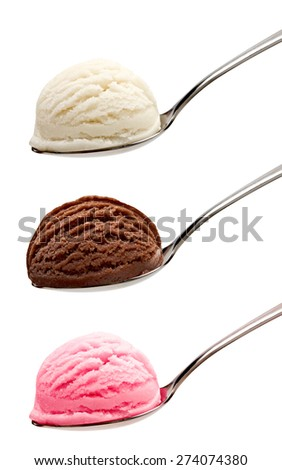 Strawberry, vanilla and chocolate ice cream in spoons on white background - stock photo