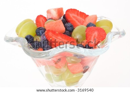 Strawberry, water melon, grapes and bilberry in goblet