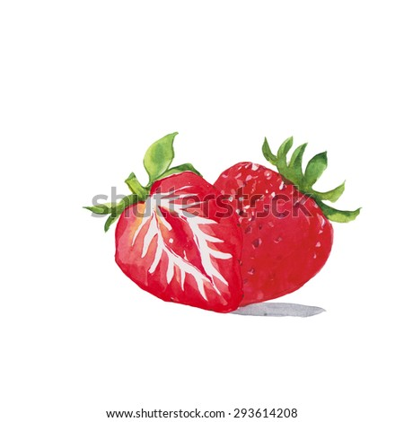 Strawberry, Watercolor painting isolated on white background. - stock photo