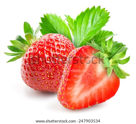 Strawberry with a half on white background - stock photo