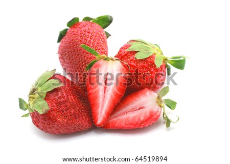Strawberry with cut isolated on white background