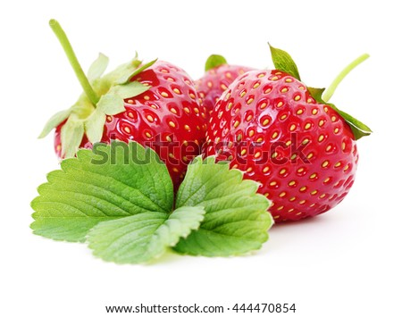 Strawberry with leaves isolated on white background. - stock photo