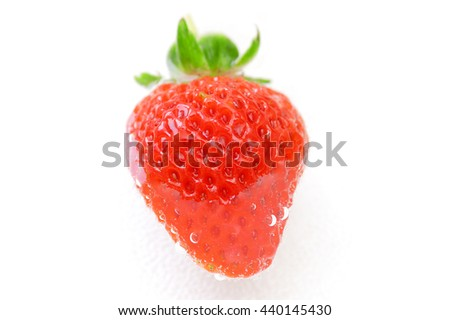 Strawberry with water drops