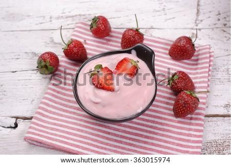 strawberry Yogurt - stock photo