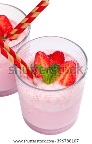 Strawberry Yogurt Smoothie Isolated. Selective focus.