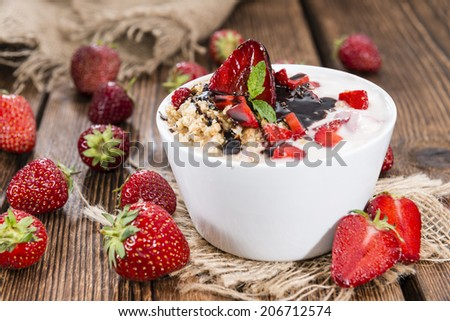 Strawberry Yogurt with Chocolate Sauce and fresh fruits - stock photo