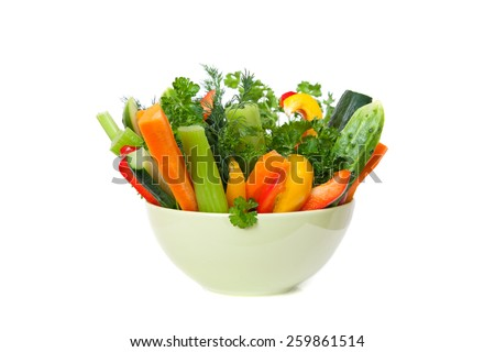 straws of fresh vegetables in a bowl - stock photo