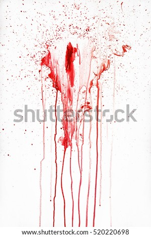 Streaks of red liquid on a white background. Blood spray