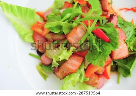 streaky pork salad thai food - stock photo