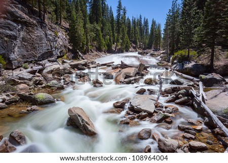 Stream from Merce river in Yosemite National Park - stock photo