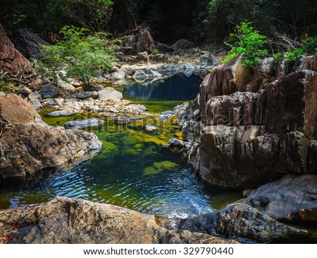 Stream in the tropical jungles of South East Asia Thailand Koh Chang - stock photo