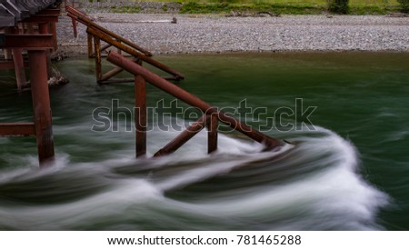 Stream of a mountain river on an ice-breaker, Altay, Siberia, Russia, Autumn
