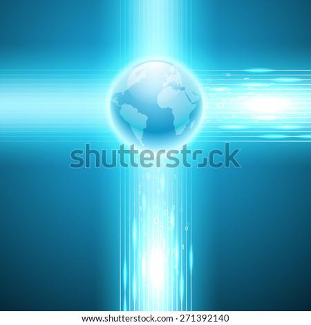 Stream of binary code to the globe - stock photo