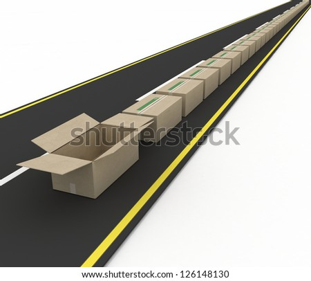 Stream of cardboard boxes on road. Concept of fast delivery - stock photo