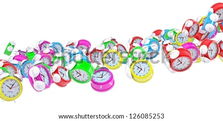 Stream of colored alarm clocks. Isolated 3d rendering