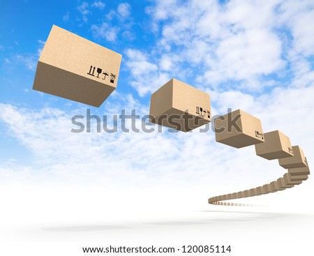 Stream of flying cardboard boxes above blue sky. Fast accuracy delivery metaphor - stock photo