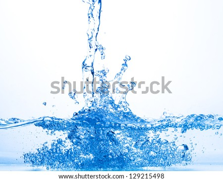 Stream of Water Falling into the Water, closeup - stock photo