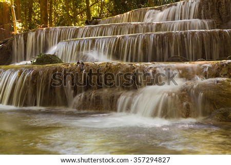 Stream waterfalls close up, in national park of Thailand