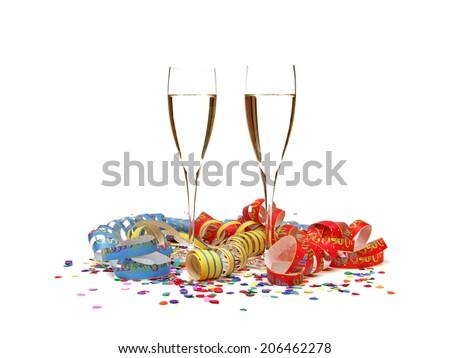 streamer confetti champagne - stock photo