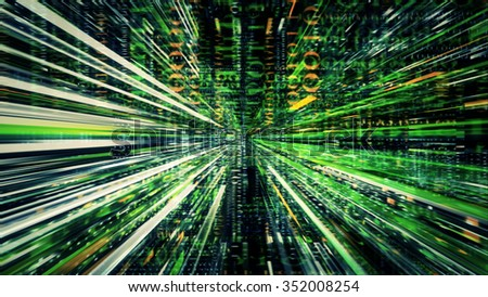 Streaming digital data abstraction 10561 from a series of futuristic tech imagery. - stock photo